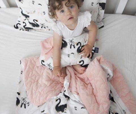 Παπλωματάκι Powder Pink-Moonlight Swans