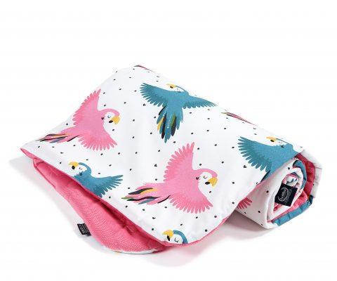 kocyk średniaka_la millou_velvet_florida pink_candy parrot (2)